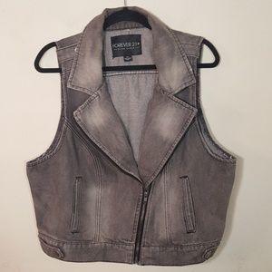 Forever 21 Plus Gray Denim Moto Vest